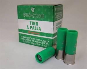 Cartouches FIOCCHI Cal. 12 X 70 TIR à BALLE X 25.