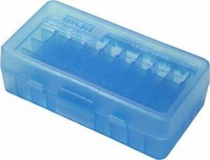 Boite MTM P 50 9 MM Bleue translucide.